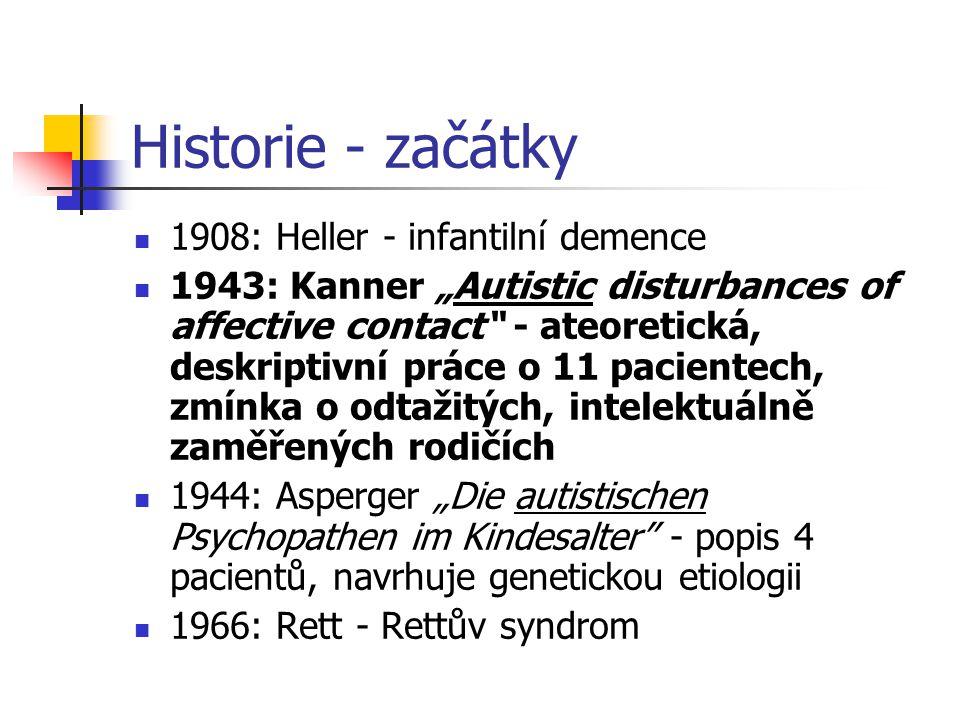 Historie - omyly 1947: Benderová - kontinuita psychotických stavů u malých dětí se schizofrenií dospělých konotace termínu autismus (Bleuler, 1911 – příznak schizofrenie) 1952, DSM-I, 1968, DSM-II: dětský autismus řazen k schizofrenním poruchám s časným začátkem 50.