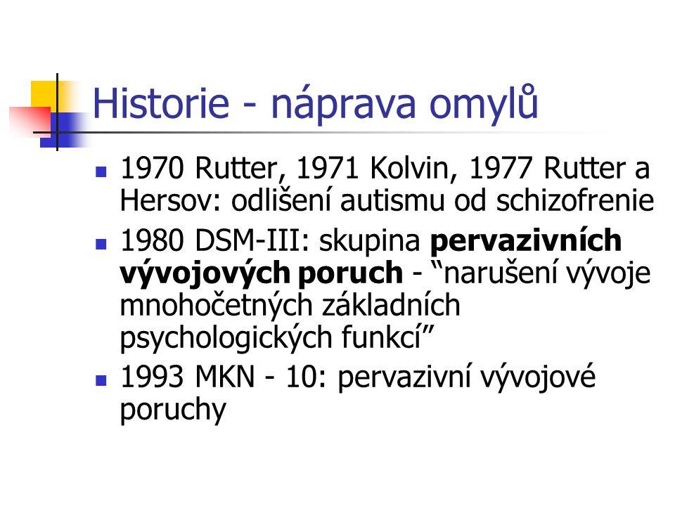 Historie - náprava omylů 1970 Rutter, 1971 Kolvin, 1977 Rutter a Hersov: odlišení autismu od schizofrenie 1980 DSM-III: skupina pervazivních vývojovýc