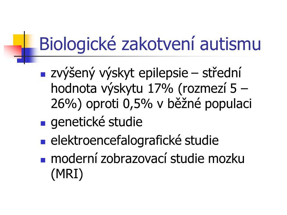 Biologické zakotvení autismu zvýšený výskyt epilepsie – střední hodnota výskytu 17% (rozmezí 5 – 26%) oproti 0,5% v běžné populaci genetické studie el
