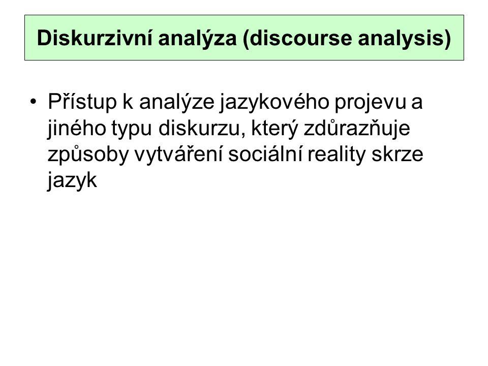 Diskurzivní analýza (discourse analysis) Přístup k analýze jazykového projevu a jiného typu diskurzu, který zdůrazňuje způsoby vytváření sociální reality skrze jazyk