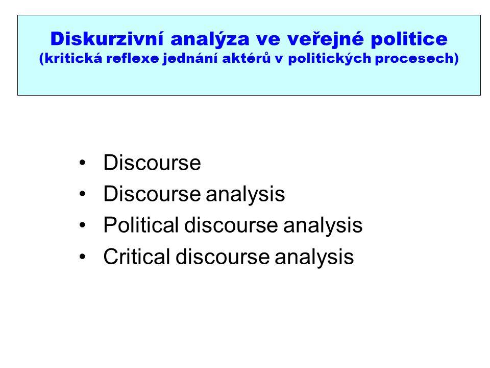 Diskurzivní analýza ve veřejné politice (kritická reflexe jednání aktérů v politických procesech) Discourse Discourse analysis Political discourse analysis Critical discourse analysis