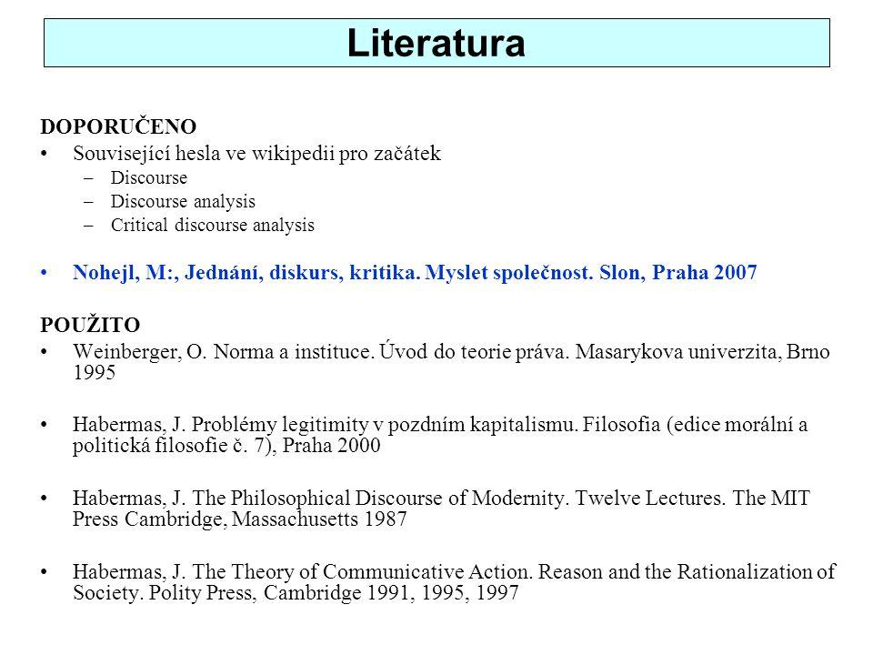 Literatura DOPORUČENO Související hesla ve wikipedii pro začátek –Discourse –Discourse analysis –Critical discourse analysis Nohejl, M:, Jednání, diskurs, kritika.