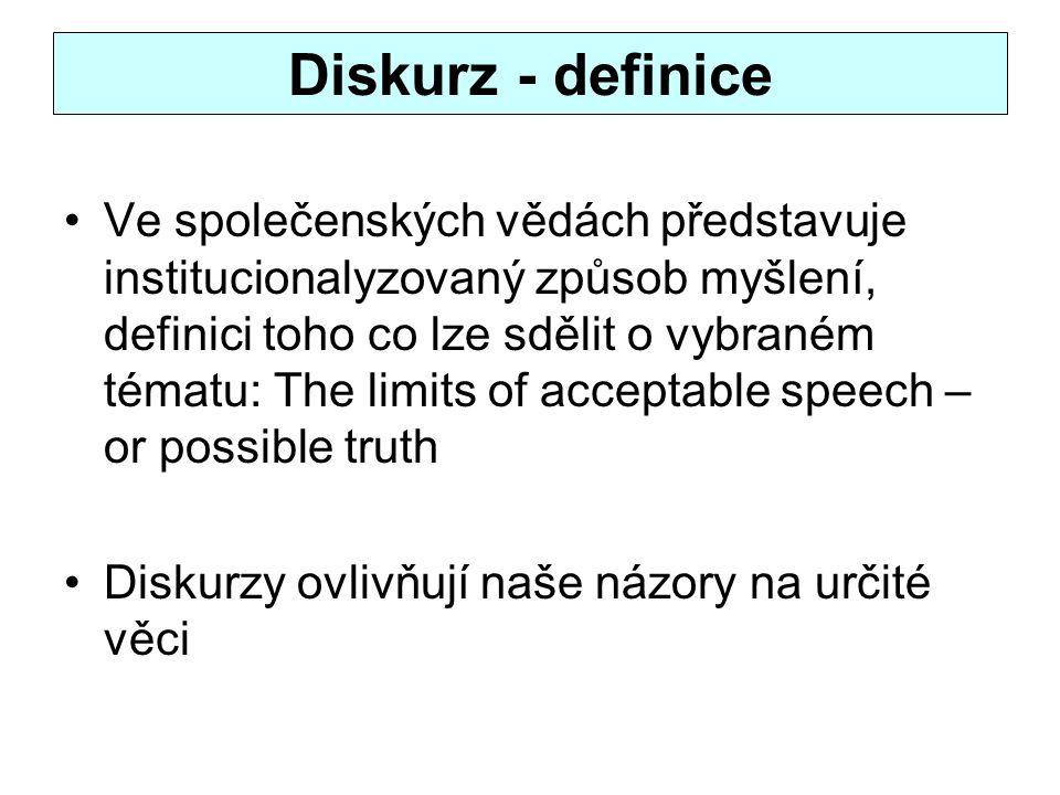 Diskurz - definice Ve společenských vědách představuje institucionalyzovaný způsob myšlení, definici toho co lze sdělit o vybraném tématu: The limits of acceptable speech – or possible truth Diskurzy ovlivňují naše názory na určité věci