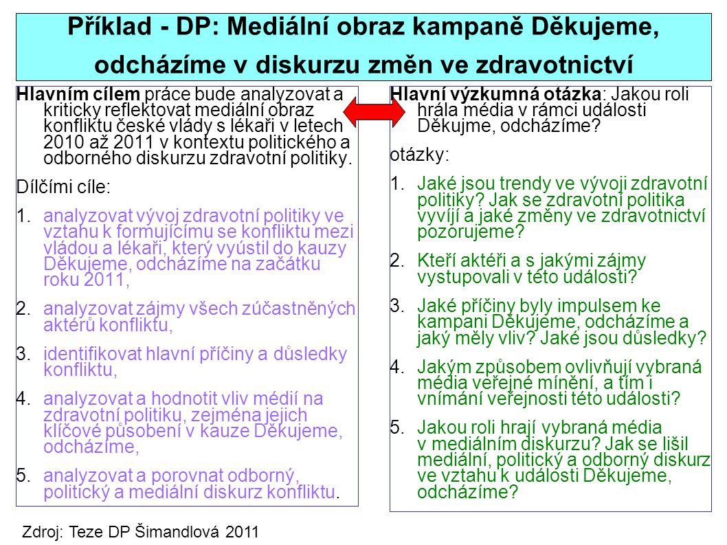 Příklad - DP: Mediální obraz kampaně Děkujeme, odcházíme v diskurzu změn ve zdravotnictví Hlavním cílem práce bude analyzovat a kriticky reflektovat mediální obraz konfliktu české vlády s lékaři v letech 2010 až 2011 v kontextu politického a odborného diskurzu zdravotní politiky.