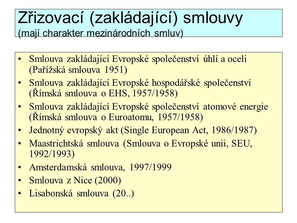 Zřizovací (zakládající) smlouvy (mají charakter mezinárodních smluv) Smlouva zakládající Evropské společenství úhlí a oceli (Pařížská smlouva 1951) Sm