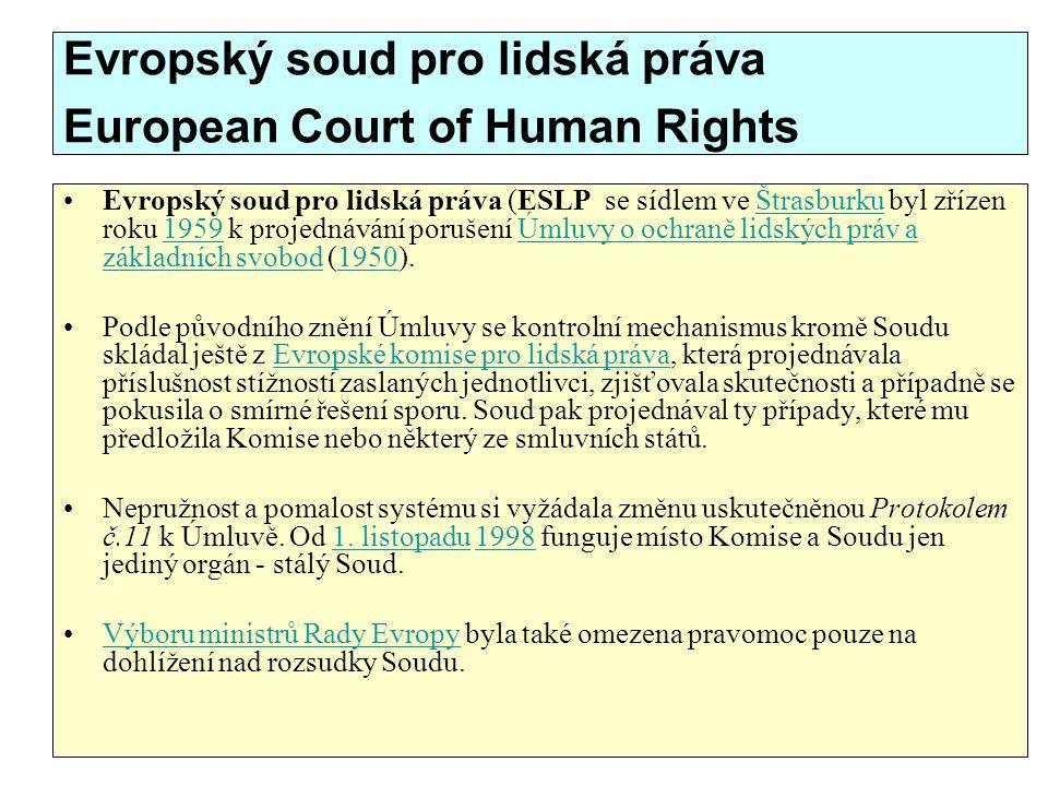Evropský soud pro lidská práva European Court of Human Rights Evropský soud pro lidská práva (ESLP se sídlem ve Štrasburku byl zřízen roku 1959 k proj