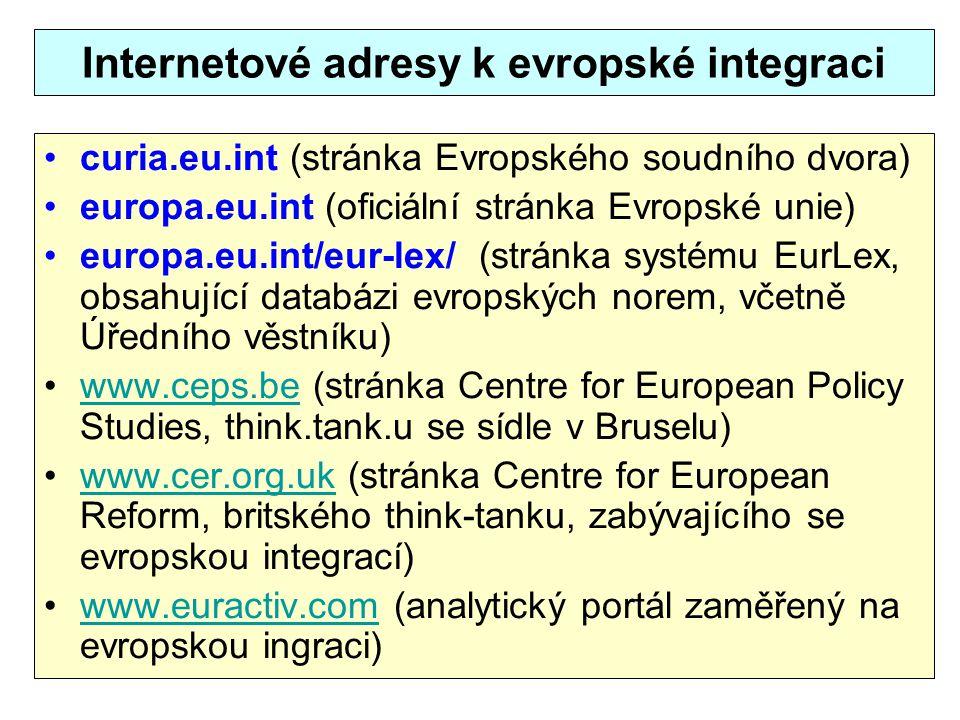 Internetové adresy k evropské integraci curia.eu.int (stránka Evropského soudního dvora) europa.eu.int (oficiální stránka Evropské unie) europa.eu.int