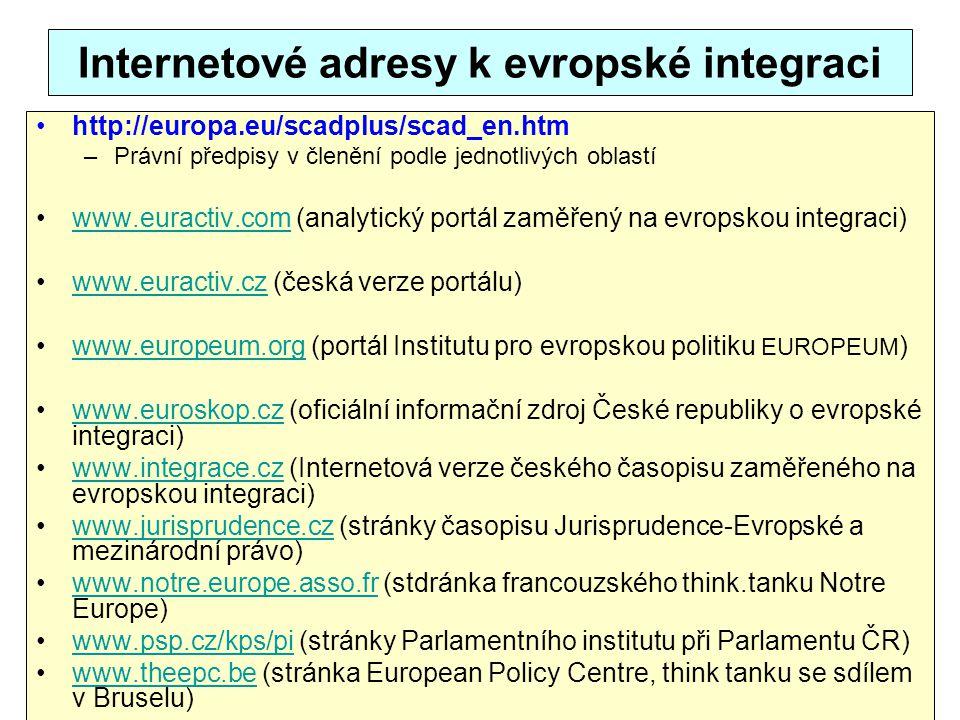 Internetové adresy k evropské integraci http://europa.eu/scadplus/scad_en.htm –Právní předpisy v členění podle jednotlivých oblastí www.euractiv.com (