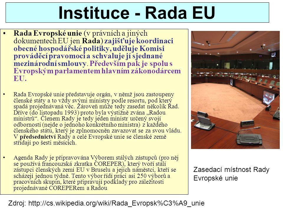 Instituce - Rada EU Rada Evropské unie (v právních a jiných dokumentech EU jen Rada) zajišťuje koordinaci obecné hospodářské politiky, uděluje Komisi