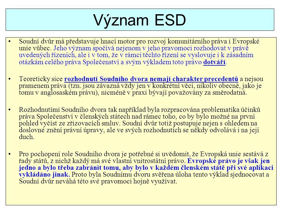 Význam ESD Soudní dvůr má představuje hnací motor pro rozvoj komunitárního práva i Evropské unie vůbec. Jeho význam spočívá nejenom v jeho pravomoci r