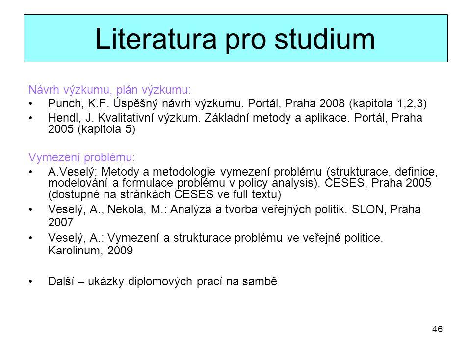 46 Literatura pro studium Návrh výzkumu, plán výzkumu: Punch, K.F. Úspěšný návrh výzkumu. Portál, Praha 2008 (kapitola 1,2,3) Hendl, J. Kvalitativní v