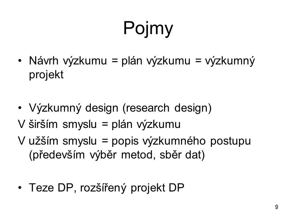9 Pojmy Návrh výzkumu = plán výzkumu = výzkumný projekt Výzkumný design (research design) V širším smyslu = plán výzkumu V užším smyslu = popis výzkum