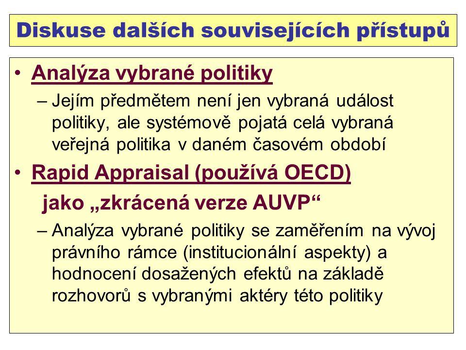 """Diskuse dalších souvisejících přístupů Analýza vybrané politiky –Jejím předmětem není jen vybraná událost politiky, ale systémově pojatá celá vybraná veřejná politika v daném časovém období Rapid Appraisal (používá OECD) jako """"zkrácená verze AUVP –Analýza vybrané politiky se zaměřením na vývoj právního rámce (institucionální aspekty) a hodnocení dosažených efektů na základě rozhovorů s vybranými aktéry této politiky"""