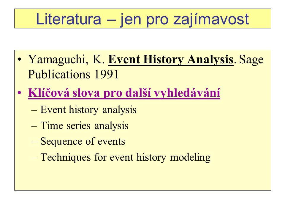 Literatura – jen pro zajímavost Yamaguchi, K.Event History Analysis.