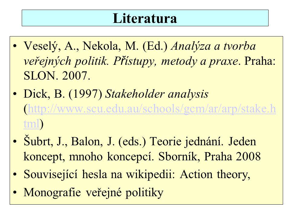 Literatura Veselý, A., Nekola, M. (Ed.) Analýza a tvorba veřejných politik. P ř ístupy, metody a praxe. Praha: SLON. 2007. Dick, B. (1997) Stakeholder