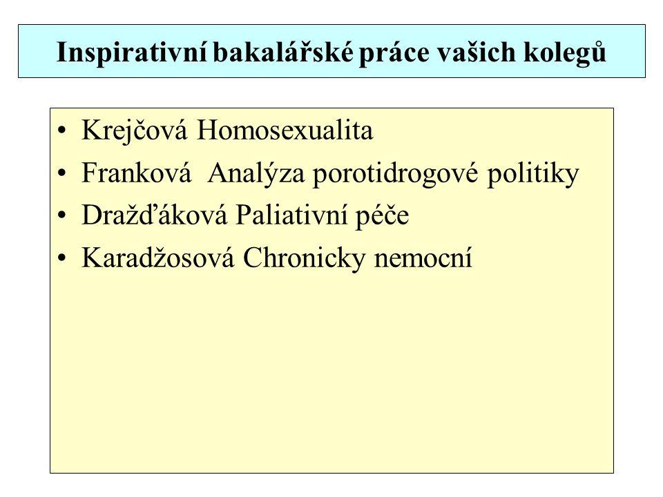 Inspirativní bakalářské práce vašich kolegů Krejčová Homosexualita Franková Analýza porotidrogové politiky Dražďáková Paliativní péče Karadžosová Chronicky nemocní