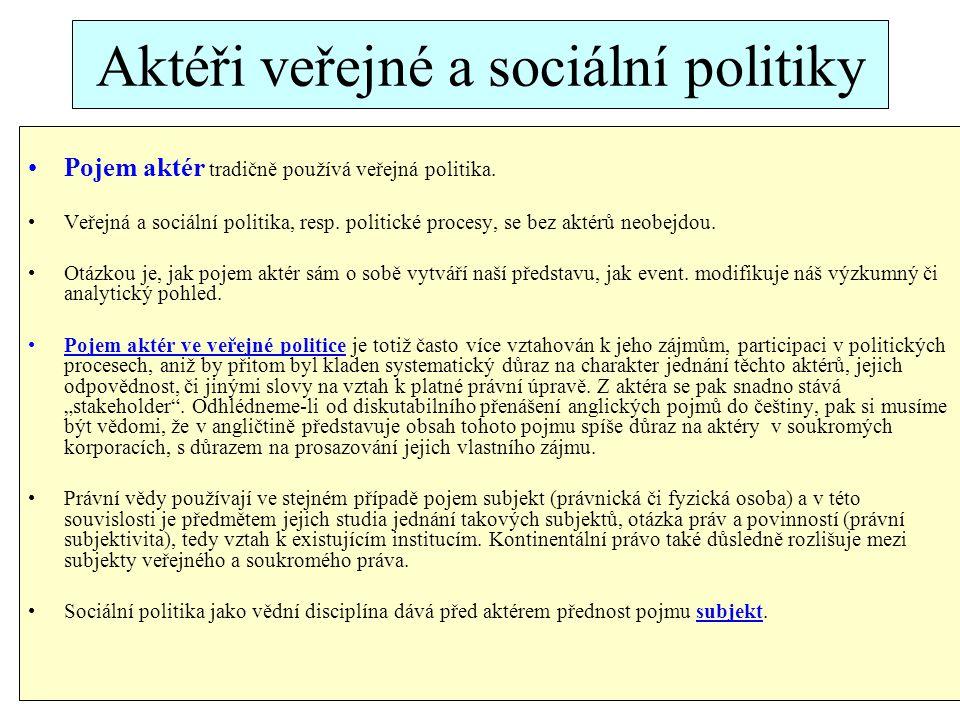 Aktéři veřejné a sociální politiky Pojem aktér tradičně používá veřejná politika.