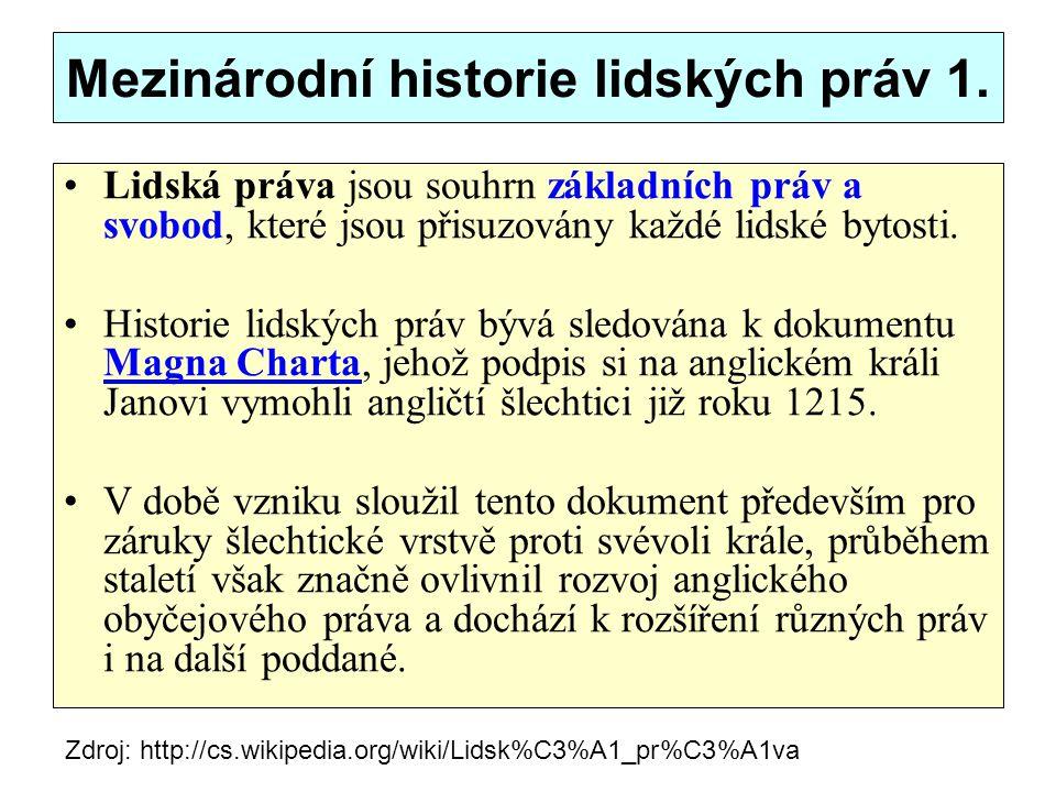 Mezinárodní historie lidských práv 1.