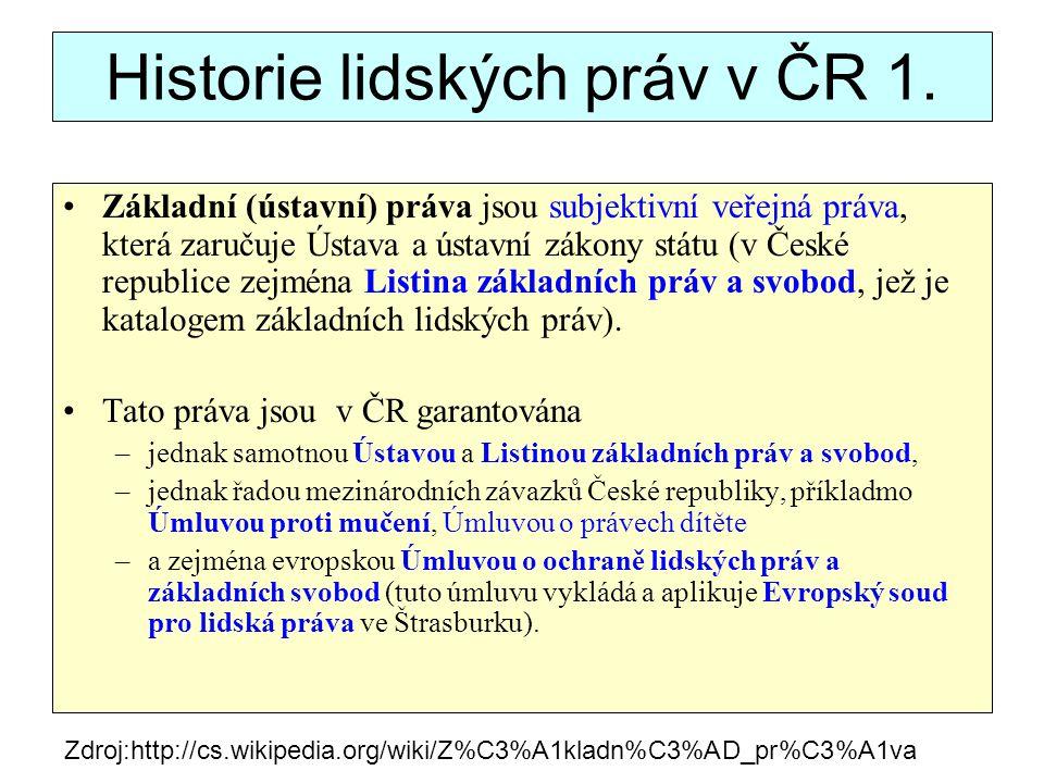 Historie lidských práv v ČR 2.Tyto smlouvy byly euronovelou Ústavy (ú.z.