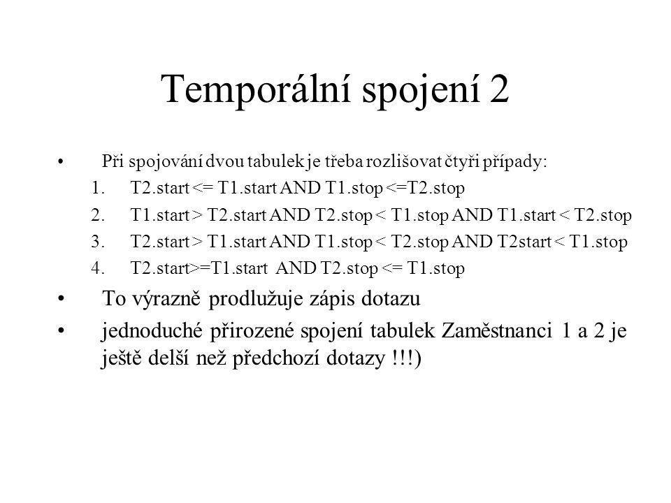 Temporální spojení 2 Při spojování dvou tabulek je třeba rozlišovat čtyři případy: 1.T2.start <= T1.start AND T1.stop <=T2.stop 2.T1.start > T2.start AND T2.stop < T1.stop AND T1.start < T2.stop 3.T2.start > T1.start AND T1.stop < T2.stop AND T2start < T1.stop 4.T2.start>=T1.start AND T2.stop <= T1.stop To výrazně prodlužuje zápis dotazu jednoduché přirozené spojení tabulek Zaměstnanci 1 a 2 je ještě delší než předchozí dotazy !!!)