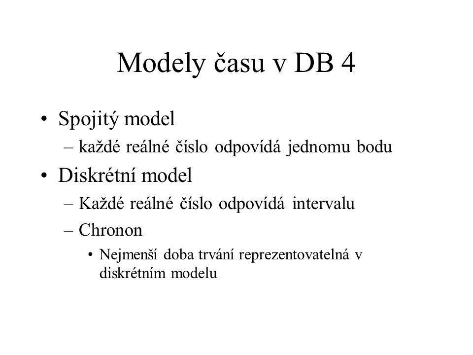 Modely času v DB 4 Spojitý model –každé reálné číslo odpovídá jednomu bodu Diskrétní model –Každé reálné číslo odpovídá intervalu –Chronon Nejmenší doba trvání reprezentovatelná v diskrétním modelu