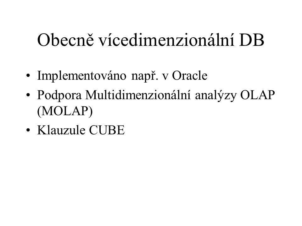 Obecně vícedimenzionální DB Implementováno např. v Oracle Podpora Multidimenzionální analýzy OLAP (MOLAP) Klauzule CUBE