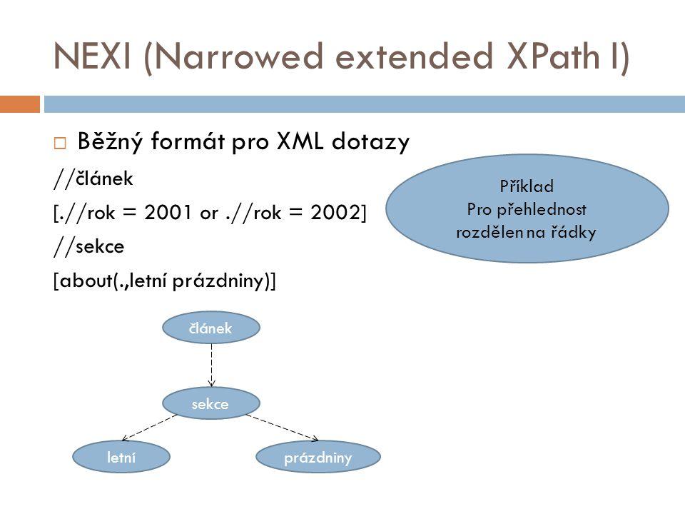 NEXI (Narrowed extended XPath I)  Běžný formát pro XML dotazy //článek [.//rok = 2001 or.//rok = 2002] //sekce [about(.,letní prázdniny)] Příklad Pro