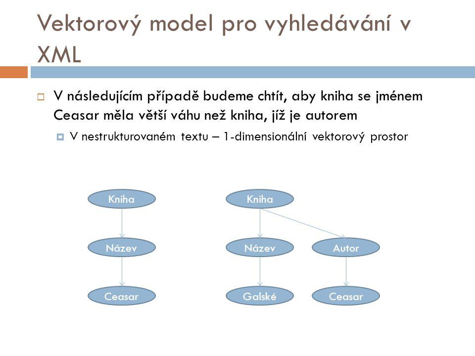 Vektorový model pro vyhledávání v XML  V následujícím případě budeme chtít, aby kniha se jménem Ceasar měla větší váhu než kniha, jíž je autorem  V