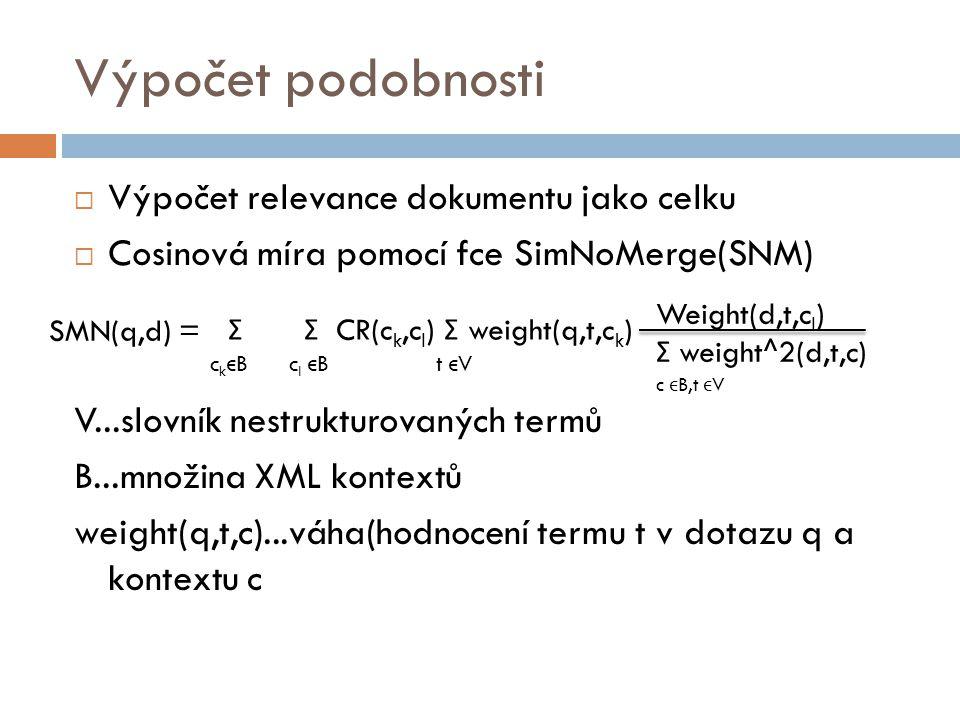 SMN(q,d) = Σ Σ CR(c k,c l ) Σ weight(q,t,c k ) c k ϵ B c l ϵ B t ϵ V Weight(d,t,c l ) Σ weight^2(d,t,c) c ϵ B,t ϵ V Výpočet podobnosti  Výpočet relev