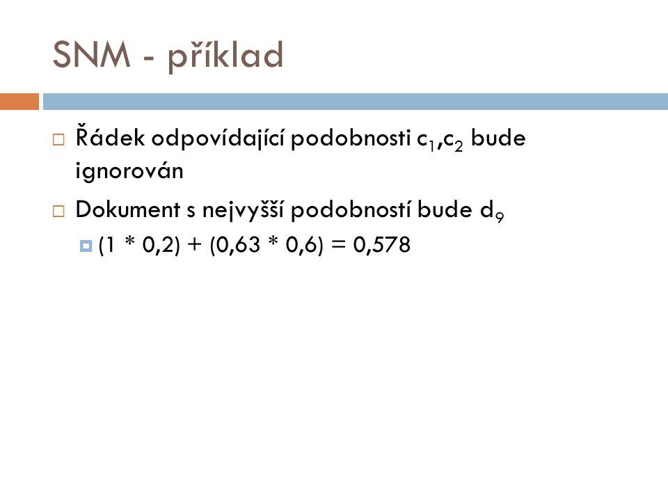 SNM - příklad  Řádek odpovídající podobnosti c 1,c 2 bude ignorován  Dokument s nejvyšší podobností bude d 9  (1 * 0,2) + (0,63 * 0,6) = 0,578