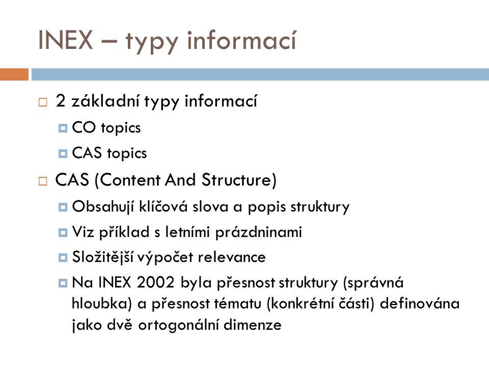 INEX – typy informací  2 základní typy informací  CO topics  CAS topics  CAS (Content And Structure)  Obsahují klíčová slova a popis struktury 