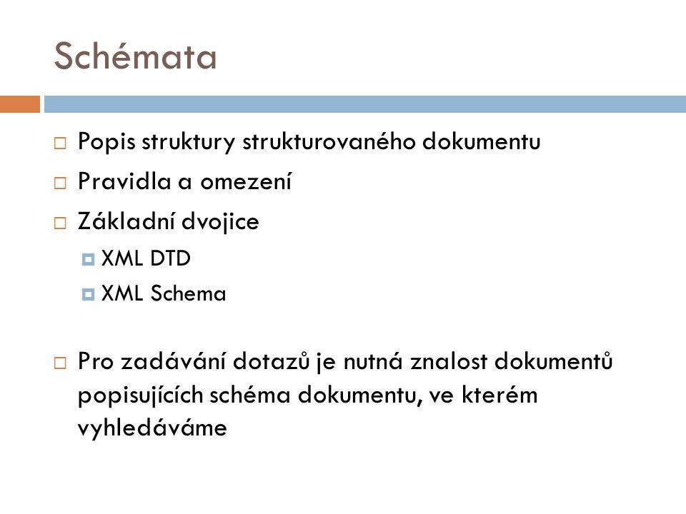 Schémata  Popis struktury strukturovaného dokumentu  Pravidla a omezení  Základní dvojice  XML DTD  XML Schema  Pro zadávání dotazů je nutná zna