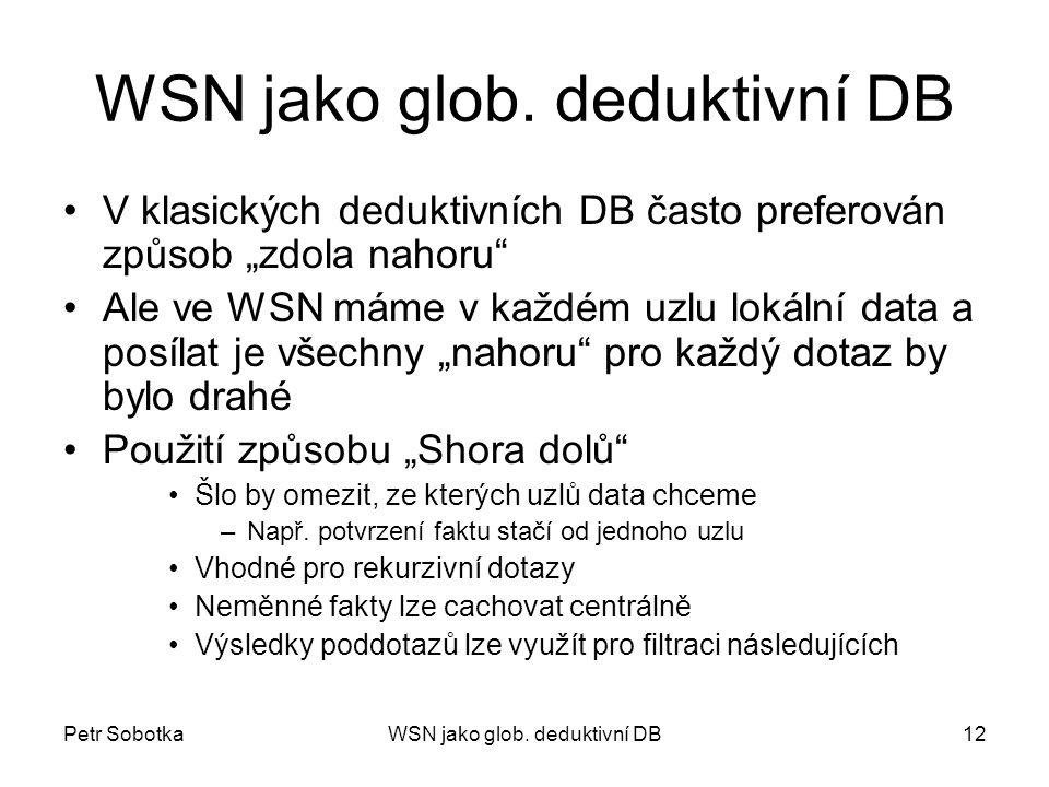 """Petr SobotkaWSN jako glob. deduktivní DB12 WSN jako glob. deduktivní DB V klasických deduktivních DB často preferován způsob """"zdola nahoru"""" Ale ve WSN"""