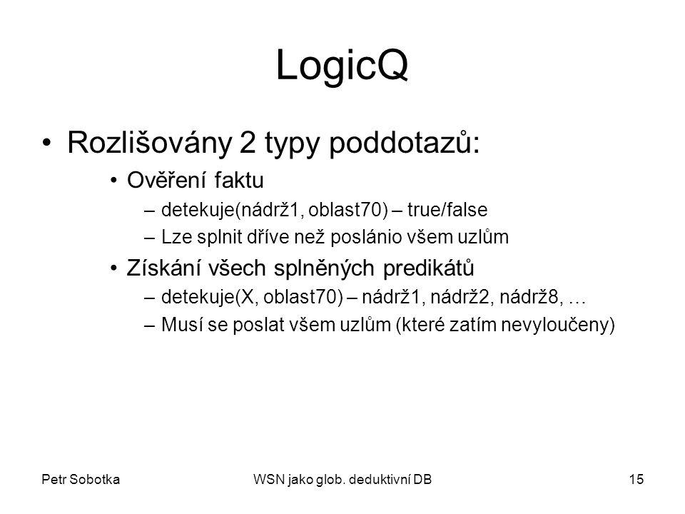 Petr SobotkaWSN jako glob. deduktivní DB15 LogicQ Rozlišovány 2 typy poddotazů: Ověření faktu –detekuje(nádrž1, oblast70) – true/false –Lze splnit dří