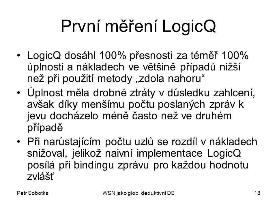 Petr SobotkaWSN jako glob. deduktivní DB18 První měření LogicQ LogicQ dosáhl 100% přesnosti za téměř 100% úplnosti a nákladech ve většině případů nižš