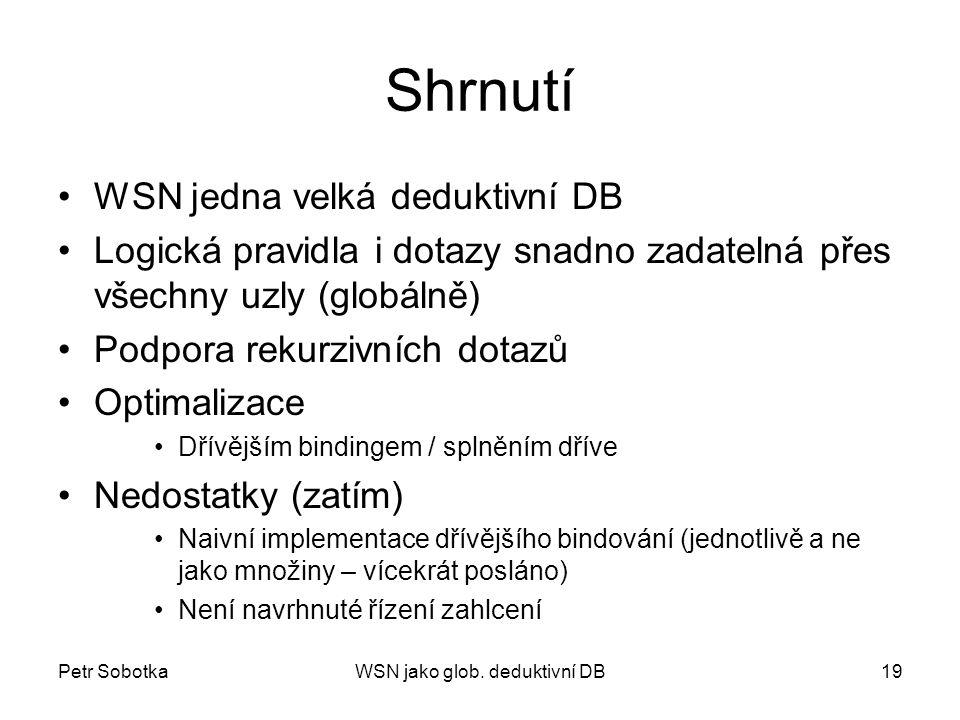 Petr SobotkaWSN jako glob. deduktivní DB19 Shrnutí WSN jedna velká deduktivní DB Logická pravidla i dotazy snadno zadatelná přes všechny uzly (globáln