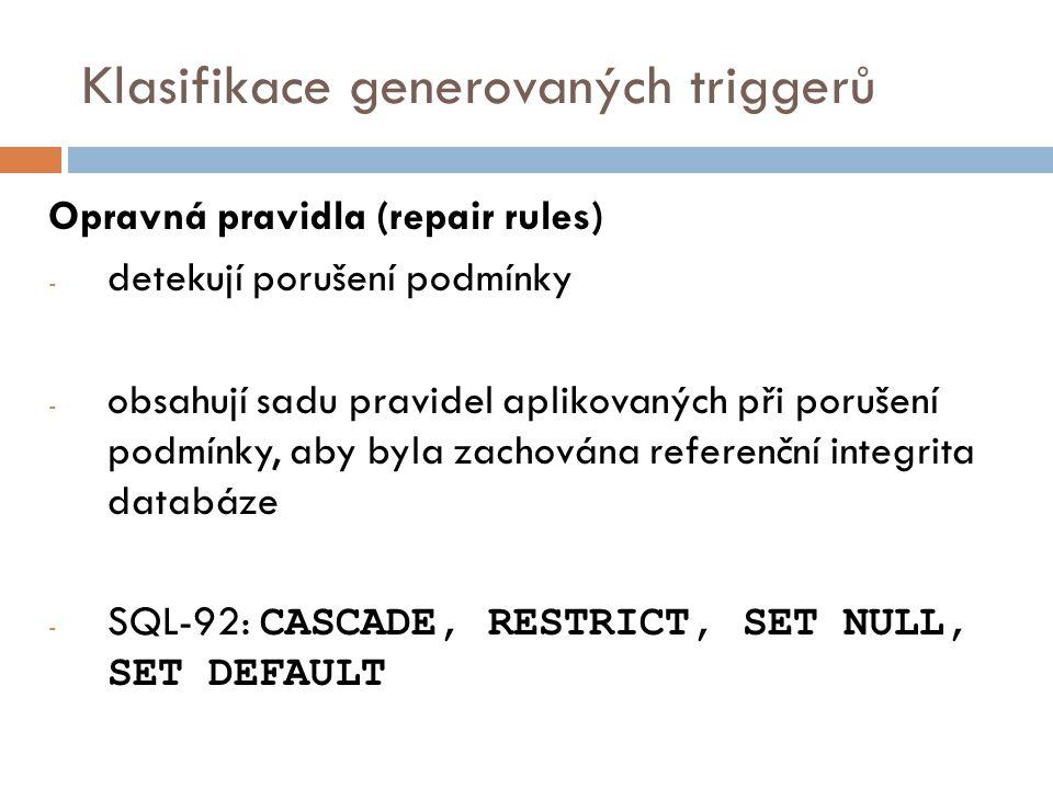 Klasifikace generovaných triggerů Opravná pravidla (repair rules) - detekují porušení podmínky - obsahují sadu pravidel aplikovaných při porušení podmínky, aby byla zachována referenční integrita databáze - SQL-92: CASCADE, RESTRICT, SET NULL, SET DEFAULT