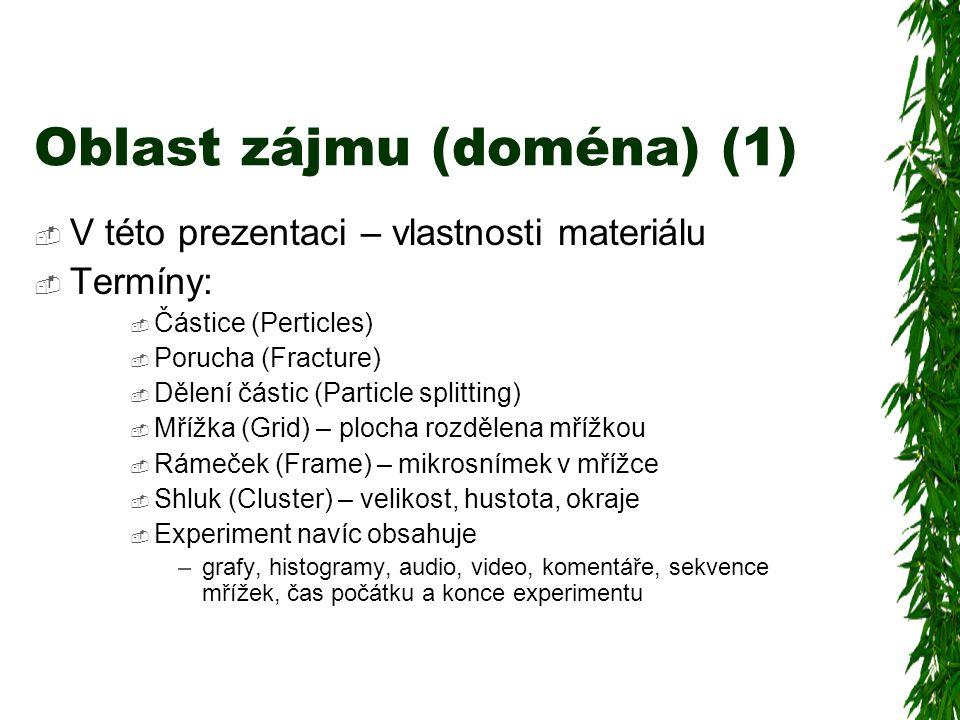 Oblast zájmu (doména) (1)  V této prezentaci – vlastnosti materiálu  Termíny:  Částice (Perticles)  Porucha (Fracture)  Dělení částic (Particle splitting)  Mřížka (Grid) – plocha rozdělena mřížkou  Rámeček (Frame) – mikrosnímek v mřížce  Shluk (Cluster) – velikost, hustota, okraje  Experiment navíc obsahuje –grafy, histogramy, audio, video, komentáře, sekvence mřížek, čas počátku a konce experimentu