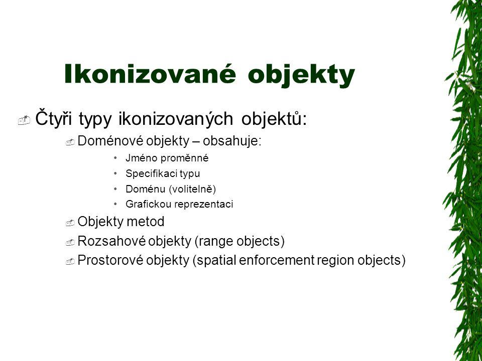 Ikonizované objekty  Čtyři typy ikonizovaných objektů:  Doménové objekty – obsahuje: Jméno proměnné Specifikaci typu Doménu (volitelně) Grafickou reprezentaci  Objekty metod  Rozsahové objekty (range objects)  Prostorové objekty (spatial enforcement region objects)