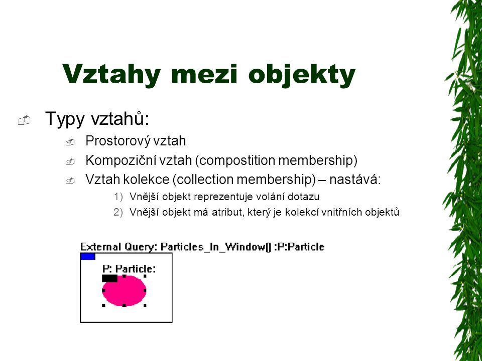 Vztahy mezi objekty  Typy vztahů:  Prostorový vztah  Kompoziční vztah (compostition membership)  Vztah kolekce (collection membership) – nastává: 1)Vnější objekt reprezentuje volání dotazu 2)Vnější objekt má atribut, který je kolekcí vnitřních objektů