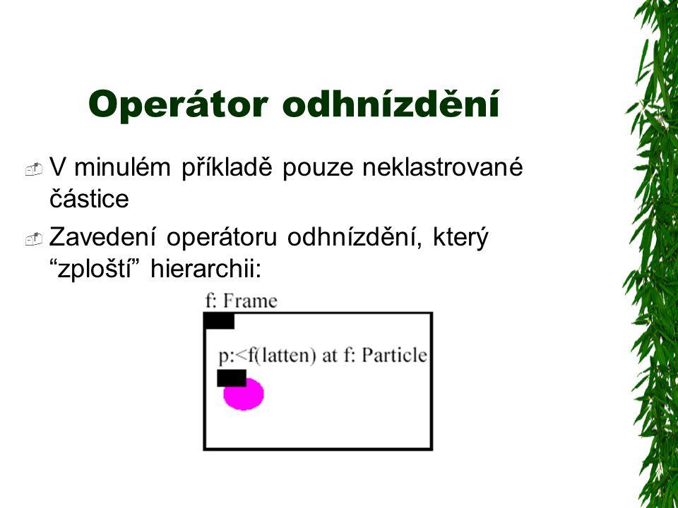 Operátor odhnízdění  V minulém příkladě pouze neklastrované částice  Zavedení operátoru odhnízdění, který zploští hierarchii: