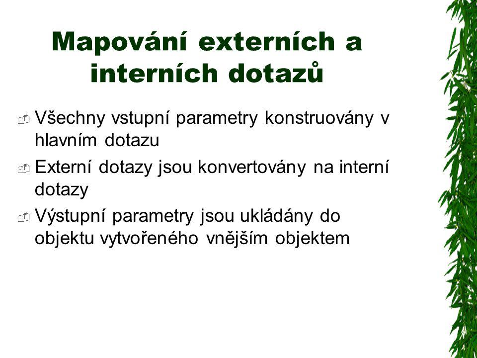 Mapování externích a interních dotazů  Všechny vstupní parametry konstruovány v hlavním dotazu  Externí dotazy jsou konvertovány na interní dotazy  Výstupní parametry jsou ukládány do objektu vytvořeného vnějším objektem