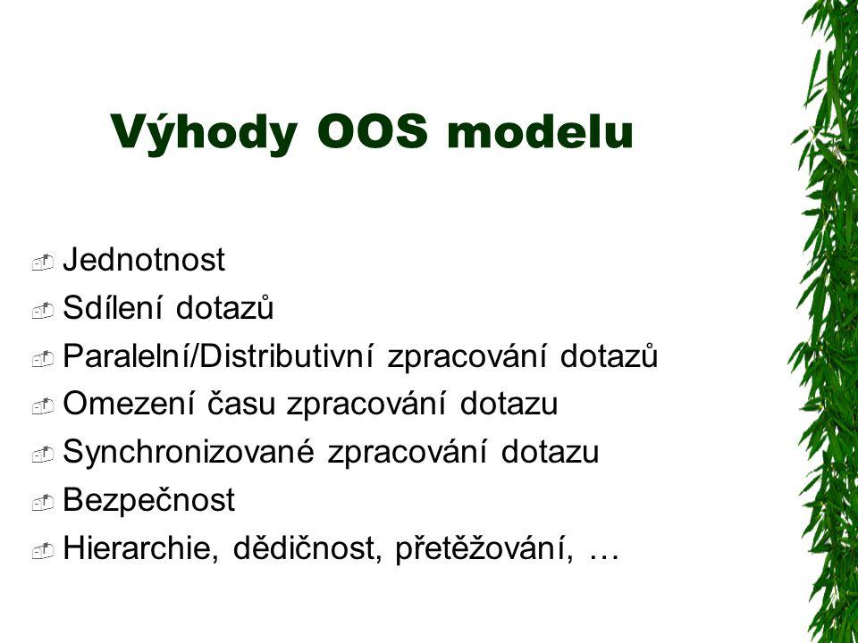 Výhody OOS modelu  Jednotnost  Sdílení dotazů  Paralelní/Distributivní zpracování dotazů  Omezení času zpracování dotazu  Synchronizované zpracování dotazu  Bezpečnost  Hierarchie, dědičnost, přetěžování, …