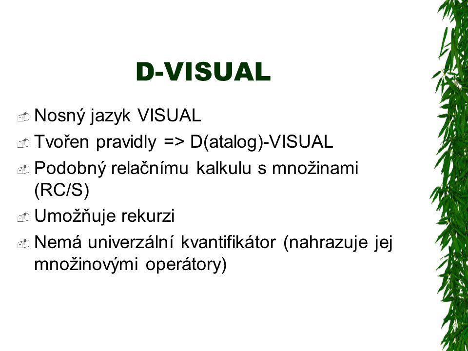 D-VISUAL  Nosný jazyk VISUAL  Tvořen pravidly => D(atalog)-VISUAL  Podobný relačnímu kalkulu s množinami (RC/S)  Umožňuje rekurzi  Nemá univerzální kvantifikátor (nahrazuje jej množinovými operátory)