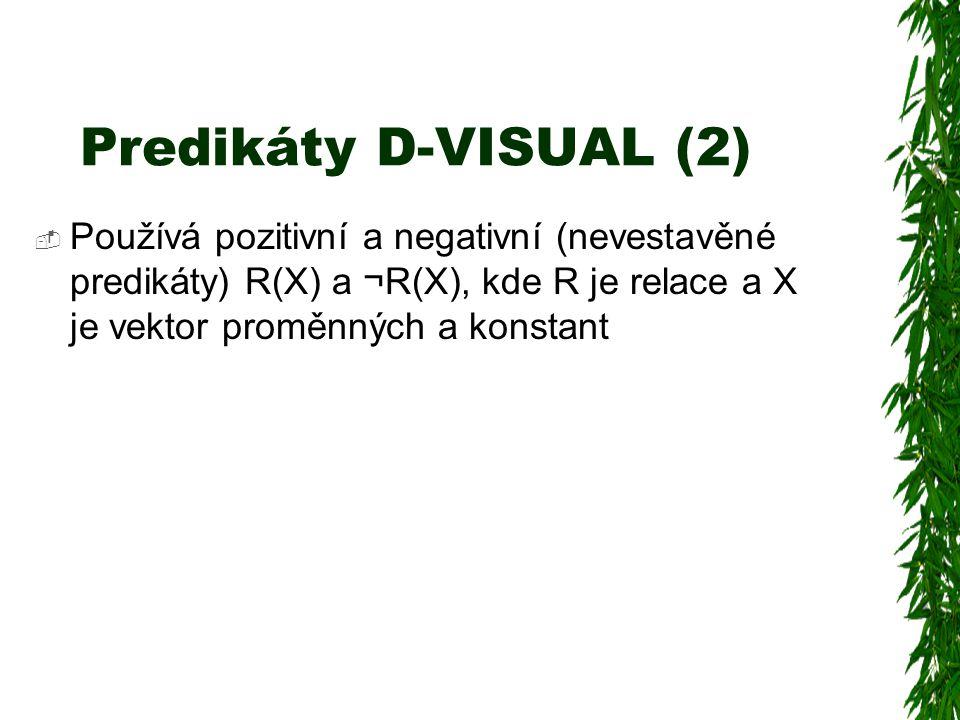 Predikáty D-VISUAL (2)  Používá pozitivní a negativní (nevestavěné predikáty) R(X) a ¬R(X), kde R je relace a X je vektor proměnných a konstant