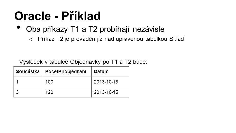 Oracle - Příklad Oba příkazy T1 a T2 probíhají nezávisle o Příkaz T2 je prováděn již nad upravenou tabulkou Sklad Výsledek v tabulce Objednavky po T1 a T2 bude: SoučástkaPočetPriobjednaniDatum 11002013-10-15 31202013-10-15