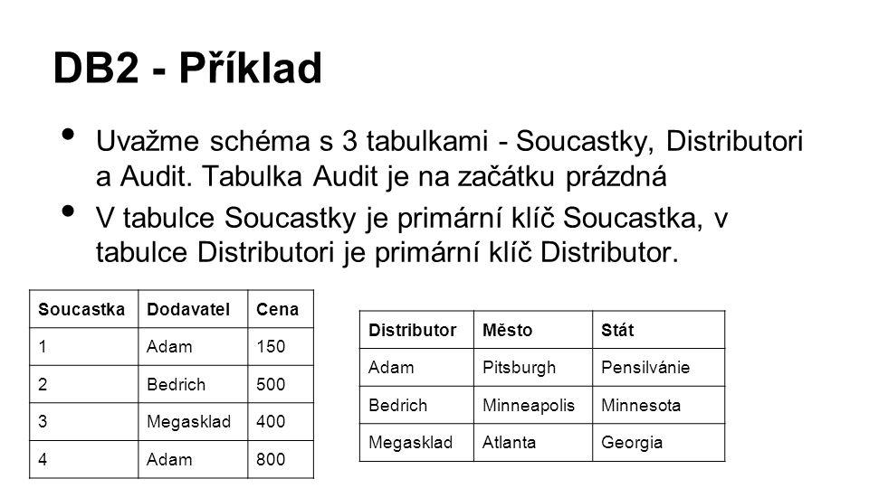 DB2 - Příklad Uvažme schéma s 3 tabulkami - Soucastky, Distributori a Audit.