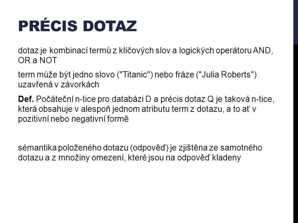 PRÉCIS DOTAZ dotaz je kombinací termů z klíčových slov a logických operátoru AND, OR a NOT term může být jedno slovo ( Titanic ) nebo fráze ( Julia Roberts ) uzavřená v závorkách Def.