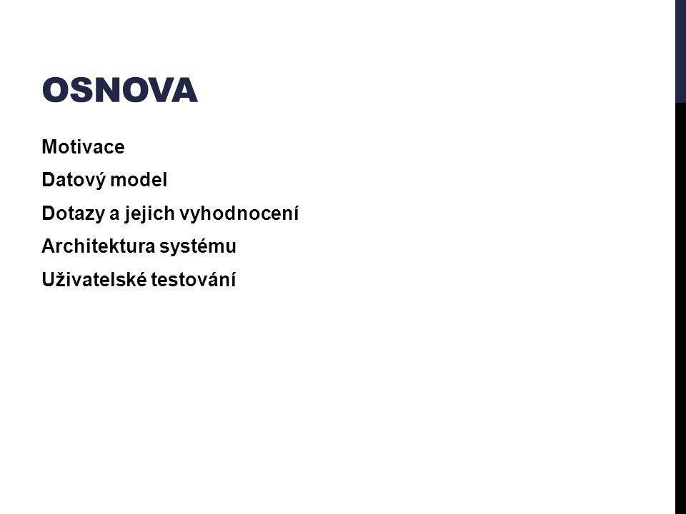 OSNOVA Motivace Datový model Dotazy a jejich vyhodnocení Architektura systému Uživatelské testování