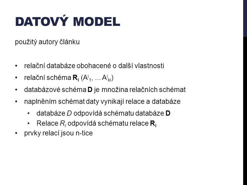 DATOVÝ MODEL použitý autory článku relační databáze obohacené o další vlastnosti relační schéma R i (A i 1,...